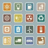 Uppsättning för Eco energisymboler. Arkivbild