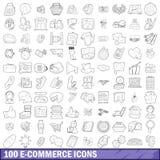 uppsättning för 100 ecommercesymboler, översiktsstil Royaltyfri Bild