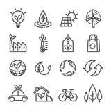 Uppsättning för ekologivektorsymboler, plan tunn linje stil stock illustrationer
