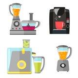 Uppsättning för elektrisk utrustning för kök för att laga mat Kaffemaskin, blandare, juicer och matberedare Vektorutrustning vektor illustrationer