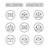 Uppsättning för Emailmarknadsföringssymboler Arkivfoto