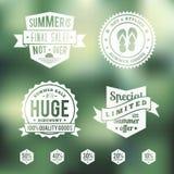 Uppsättning för emblem för sommarSale tappning stock illustrationer