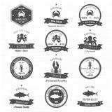Uppsättning för emblem för tappninghavsdjur Fotografering för Bildbyråer