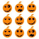 Uppsättning för emoticons för allhelgonaaftonpumpaemoji Arkivfoto