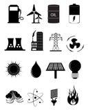 Uppsättning för energi- och maktkällsymboler Arkivbild