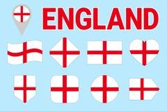 Uppsättning för England flaggavektor Olikt geometriskt formar Plan stil Engelsk flaggasamling Kan använda för sportar, nationellt vektor illustrationer