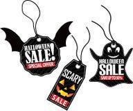Uppsättning för etikett för allhelgonaaftonförsäljning läskig, vektorillustration Arkivfoto