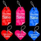 Uppsättning för etikett för etikett för försäljning för valentindagshopping Royaltyfria Bilder