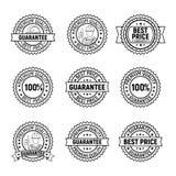 Uppsättning för etikett för kvalitets- garanti för svart pris för vektor bästa högvärdig Arkivfoton