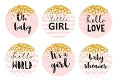 Uppsättning för etikett för vektor för baby showergodisstång Sex gulliga rosa färgcirkelShape etiketter med guld- mycket små konf vektor illustrationer