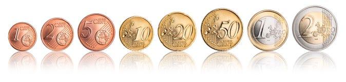 Uppsättning för euro- och centmyntvaluta Arkivbild