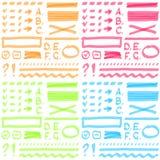 Uppsättning för färg fyra Handteckningsbeståndsdelar för valt royaltyfri illustrationer
