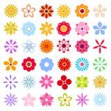 Uppsättning för färgblommasymboler vektor Stock Illustrationer