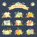 Uppsättning för färgrik vektor för tappning blom- Arkivfoton
