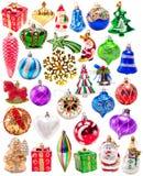Uppsättning för färgrika garneringar för nytt år stor Fotografering för Bildbyråer