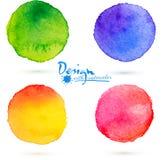 Uppsättning för färgstänk för vektorvattenfärgcirkel Royaltyfria Bilder