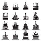 Uppsättning för födelsedagkaka royaltyfri illustrationer