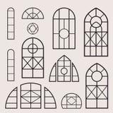 Uppsättning för fönsterramar Arkivfoto