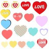 Uppsättning för förälskelsehjärtasymbol/samling, etiketter, klistermärkear Arkivfoton