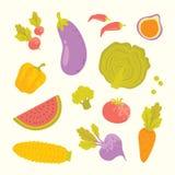 Uppsättning för för vektortecknad filmfrukter och grönsaker Arkivfoton