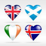 Uppsättning för Förenade kungariket, Skottland, Irland och Island hjärtaflagga av europeiska stater Royaltyfria Bilder