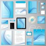 Uppsättning för företags identitet för våg för vektor idérik av att brännmärka för brevpapper royaltyfri foto