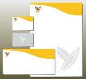Uppsättning för företags identitet - lövverk i y-bokstaven Shape - apelsin Fotografering för Bildbyråer