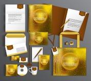 Uppsättning för företags identitet med abstrakt bakgrund Arkivbild