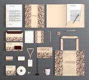 Uppsättning för företags identitet med den abstrakta modellen Royaltyfria Bilder