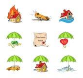Uppsättning för försäkringsäkerhetssymboler Fotografering för Bildbyråer