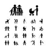 Uppsättning för familjvektorsymbol Arkivbilder