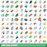 uppsättning för 100 faq-symboler, isometrisk stil 3d Arkivbilder