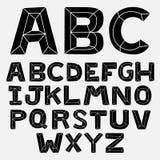 Uppsättning för fasat alfabet för klotter svartvit stock illustrationer