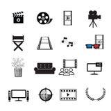 Uppsättning för filmbiosymboler Arkivfoto
