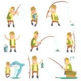 Uppsättning för fiskareIn Different Funny lägen av illustrationer Arkivbilder