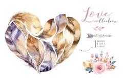 Uppsättning för fjäder för målningar för vattenfärg hand dragen vibrerande Boho stil befjädrar hjärtaform Förälskelseillustration Royaltyfri Bild