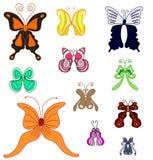 Uppsättning för fjärilar för handattraktionsommar varicolored. royaltyfri illustrationer