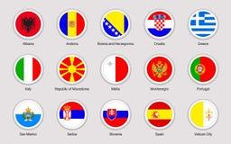 Uppsättning för flaggor för europeiska länder Samling för vektorflaggaklistermärkear Runda beståndsdelar Södra Europa stater Cirk stock illustrationer