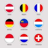 Uppsättning för flaggor för europeiska länder Samling för vektorflaggaklistermärkear Runda beståndsdelar Västeuropatillstånd Öste Royaltyfri Illustrationer