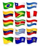 Uppsättning för flaggor för Sydamerika landsflyg Royaltyfri Fotografi