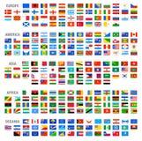Uppsättning för flaggor för vektorvärldsland stock illustrationer