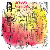 Uppsättning för flicka- och gatamodekläder Knapphändigt på Royaltyfria Foton
