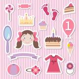 Uppsättning för flickaleksakklistermärkear stock illustrationer