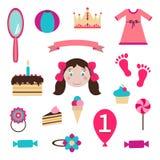 Uppsättning för flickaleksakklistermärkear royaltyfri illustrationer