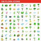 uppsättning för 100 florasymboler, isometrisk stil 3d Royaltyfri Fotografi