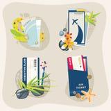 Uppsättning för flygbolagbiljetter Arkivfoton