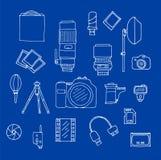 Uppsättning för fotografiutrustningklotter stock illustrationer