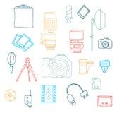 Uppsättning för fotografiutrustningklotter royaltyfri illustrationer