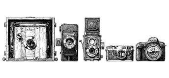 Uppsättning för fotokameraevolution Arkivbilder