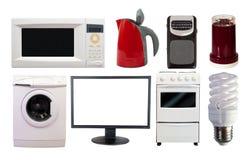 Uppsättning för främre sikt av hushållanordningar Arkivbild
